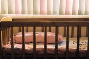 Cribs with drop-down rails are banned from sale in the U.S.