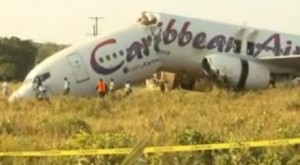 Passengers suffered mainly bruises and scrapes when Caribbean Airlines plane breaks apart on landing in Guyana on Saturday. The plane is shown here in daylight.