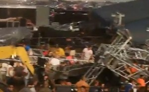 A stage and scaffolding collapses killing five in a storm in Indianapolis at a concert at the state fair, killing five and injuring others, some seriously.