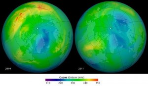 The hole in the Arctic ozone is larger than ever before, Nature journal reports.